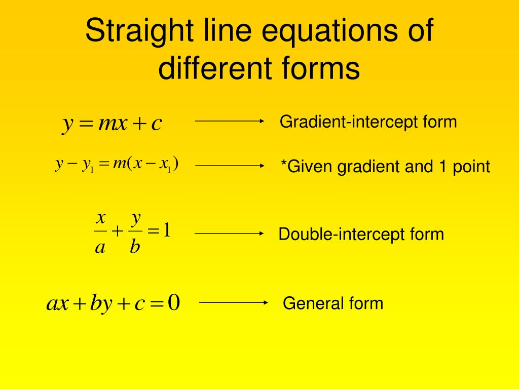 double intercept form  PPT - Equation of Straight Line PowerPoint Presentation ...