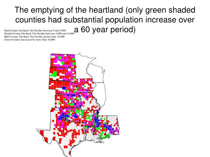 The emptying of the heartland (only green shaded counties had substantial population