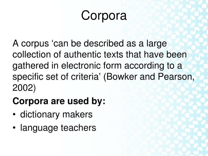 Corpora