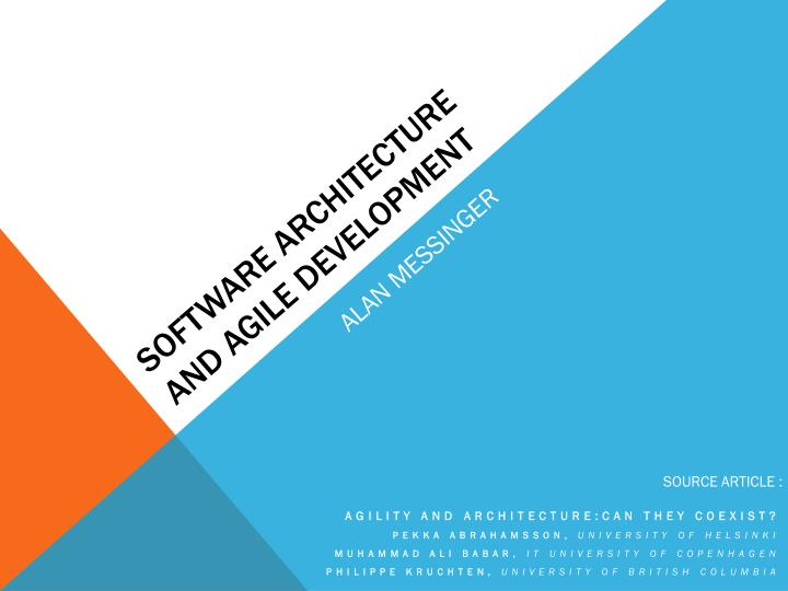 software architecture and agile development n.