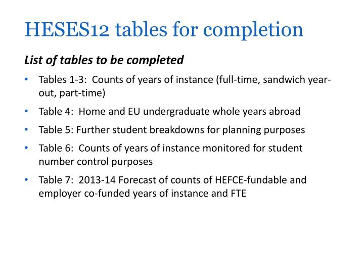 HESES12 tables for completion