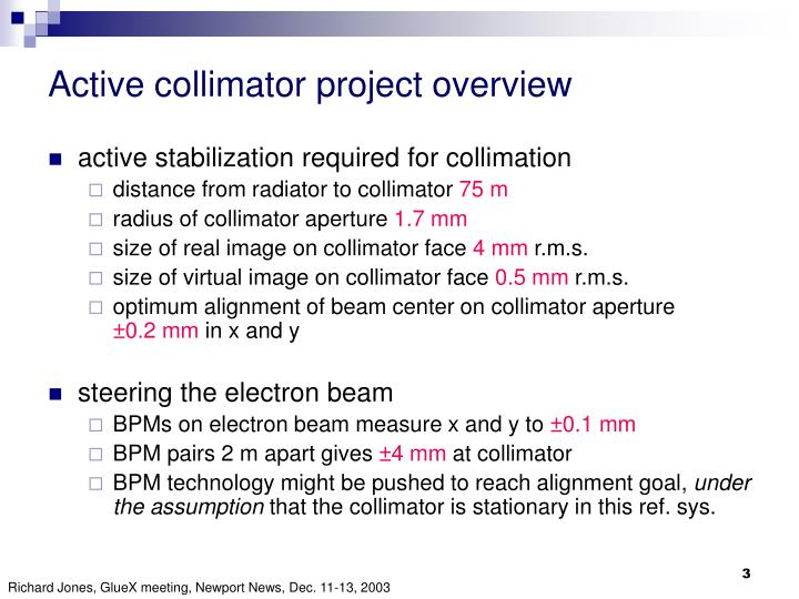 Active collimator project overview