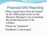 proposed sas reporting
