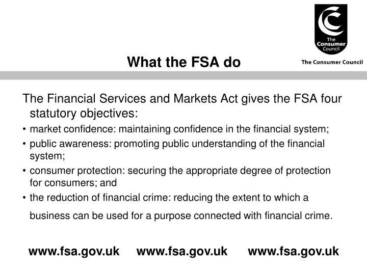 What the FSA do