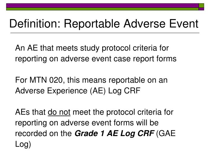 Definition: Reportable Adverse Event