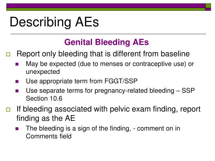Genital Bleeding AEs