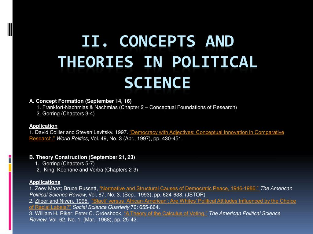 Ii Concepts And Theories In Political Science N