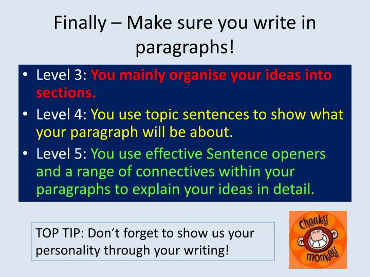 Finally – Make sure you write in paragraphs!
