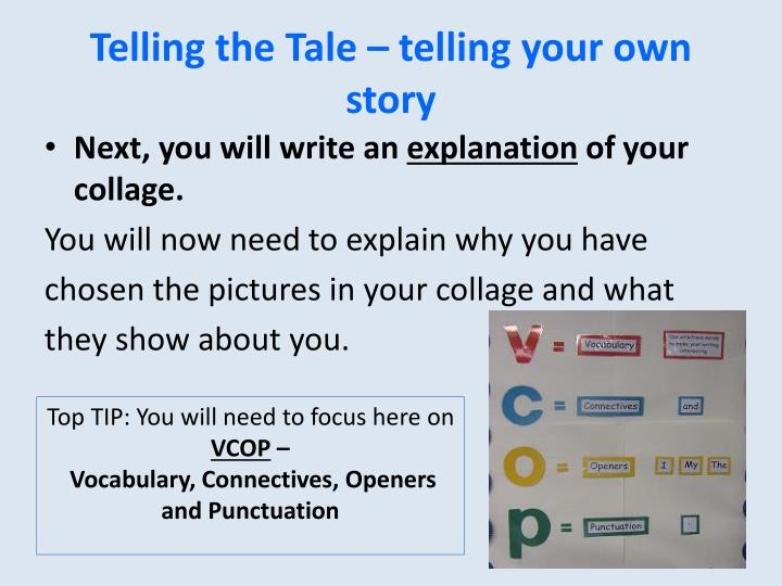 Telling the Tale – telling your own story