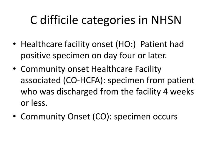 C difficile categories in NHSN