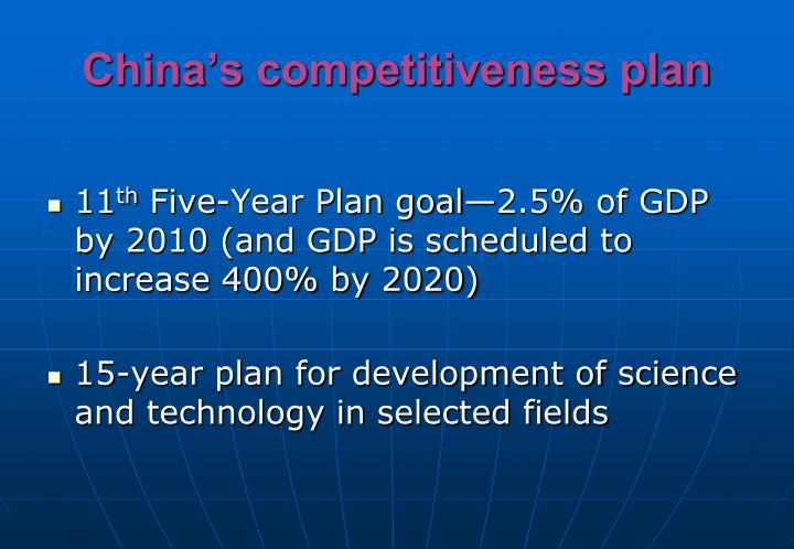 China's competitiveness plan