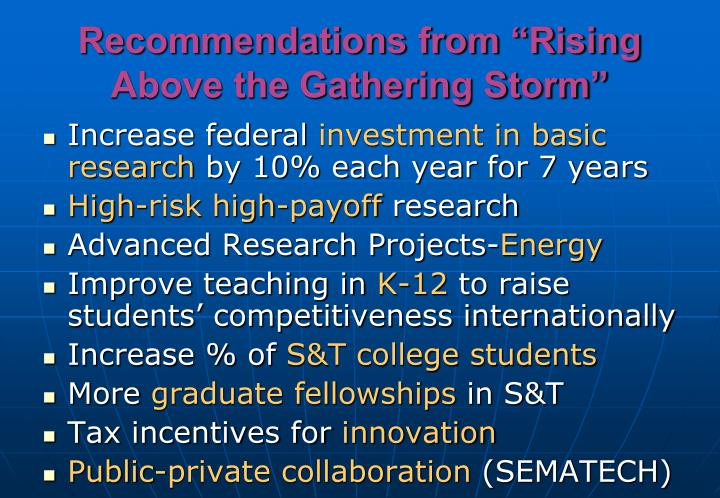"Recommendations from ""Rising Above the Gathering Storm"""