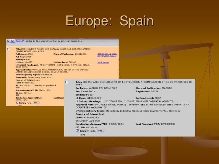Europe:  Spain
