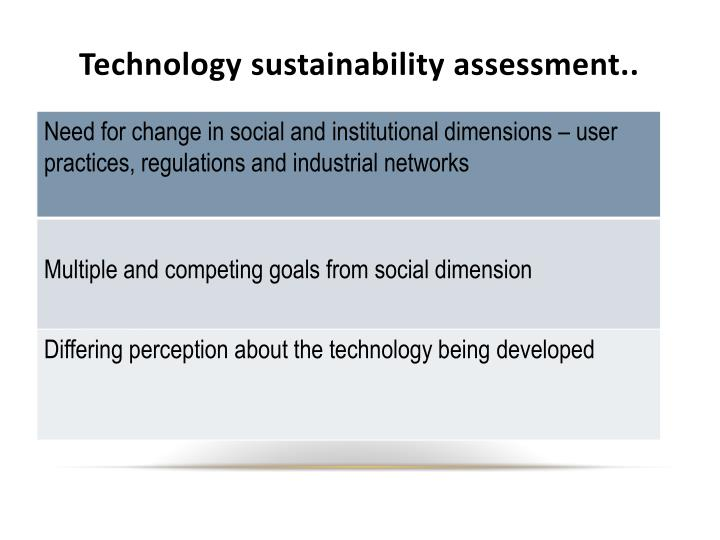 Technology sustainability assessment..