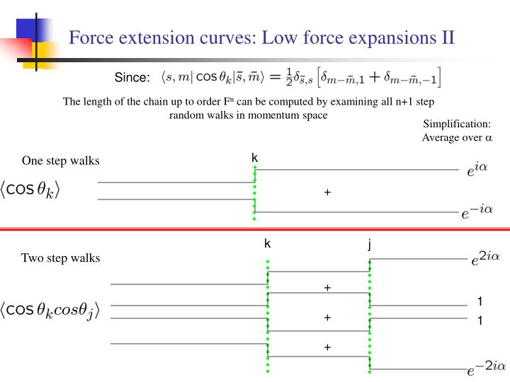 Force extension curves: Low force expansions II