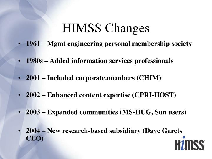 HIMSS Changes