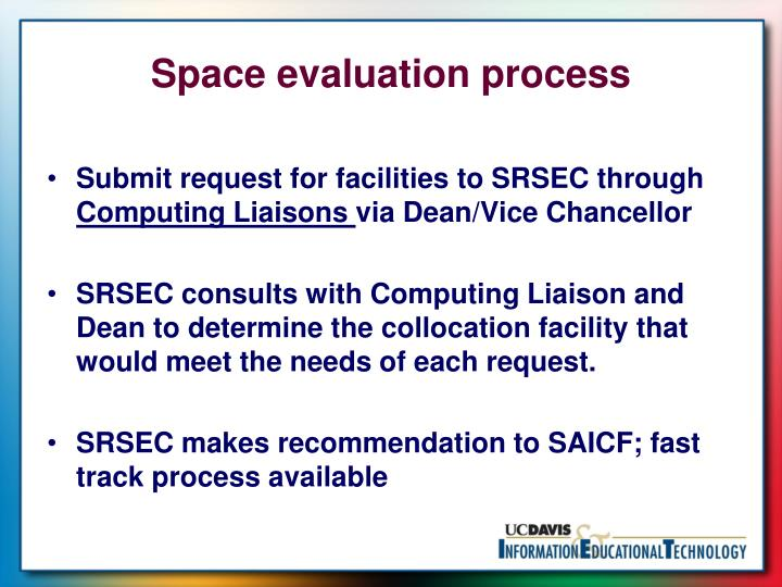 Space evaluation process