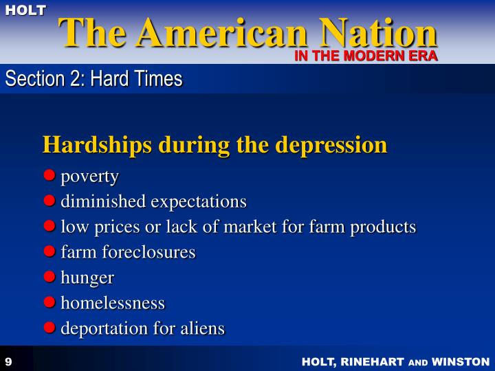 Section 2: Hard Times
