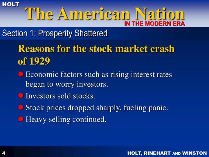 Section 1: Prosperity Shattered