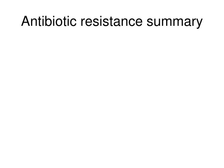 Antibiotic resistance summary