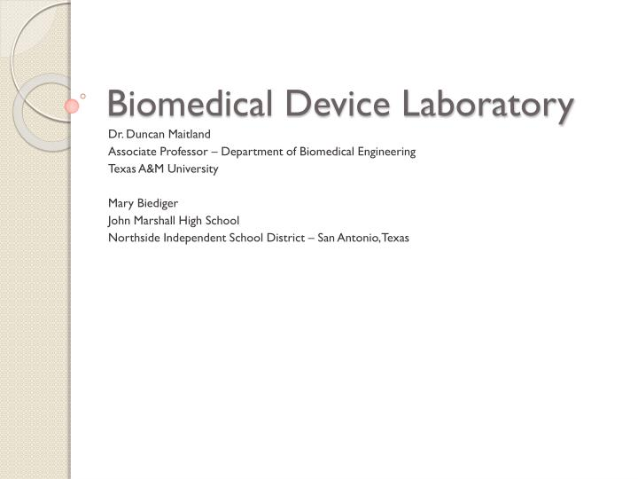 biomedical device laboratory n.