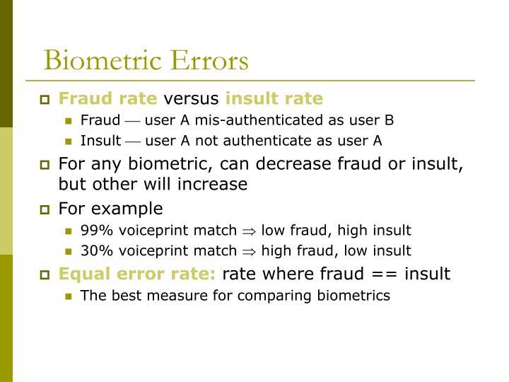 Biometric Errors