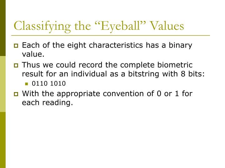 "Classifying the ""Eyeball"" Values"