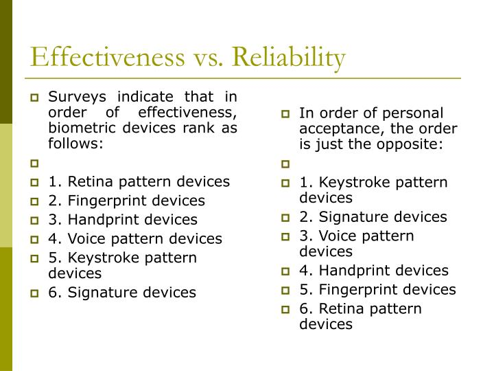 Surveys indicate that in order of effectiveness, biometric devices rank as follows: