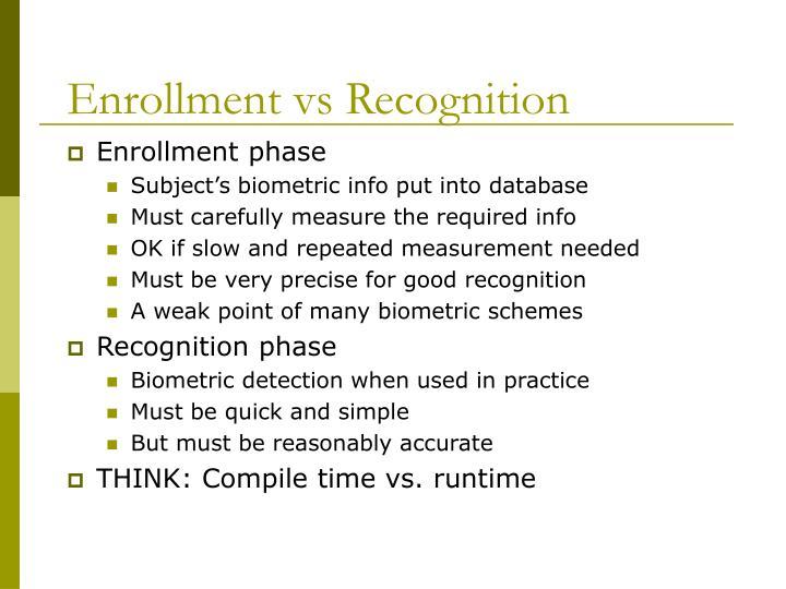 Enrollment vs Recognition