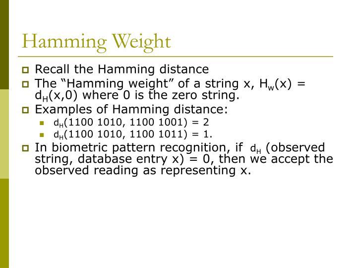 Hamming Weight