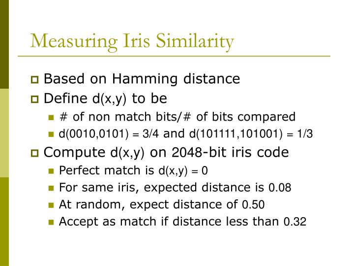 Measuring Iris Similarity