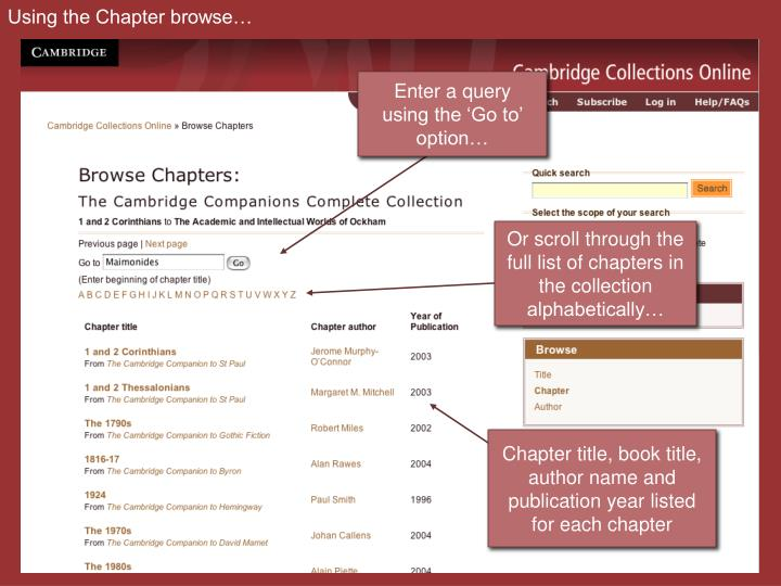 Using the Chapter browse…