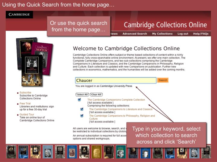 Using the Quick Search from the home page…