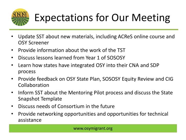 Expectations for our meeting