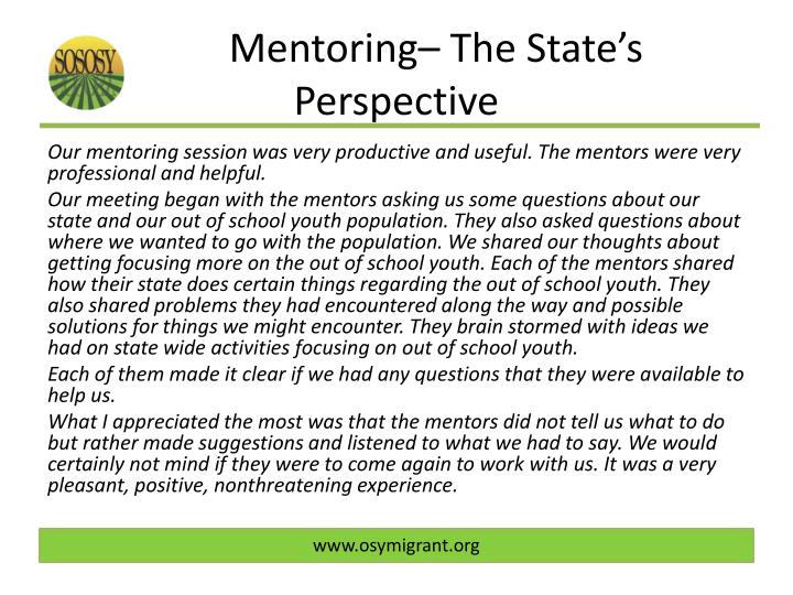 Mentoring– The State's Perspective