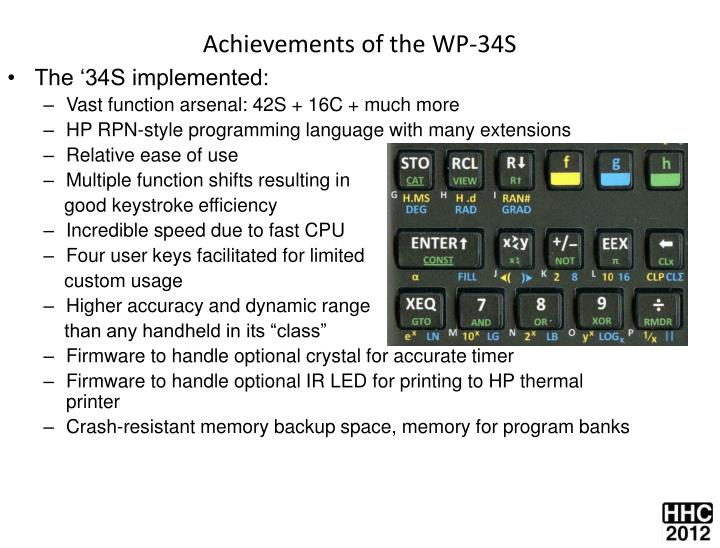 Achievements of the WP-34S