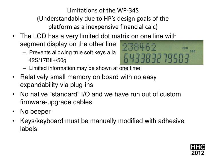 Limitations of the WP-34S