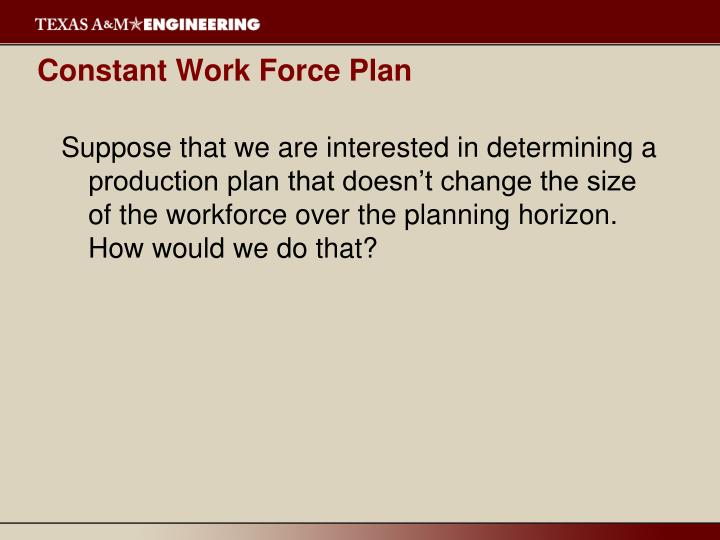 Constant Work Force Plan