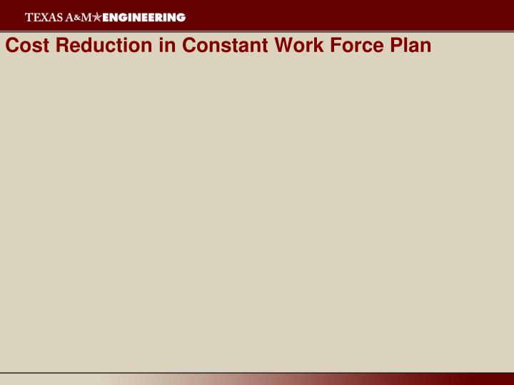 Cost Reduction in Constant Work Force Plan