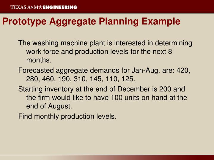 Prototype Aggregate Planning