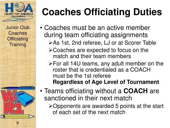 Coaches Officiating Duties
