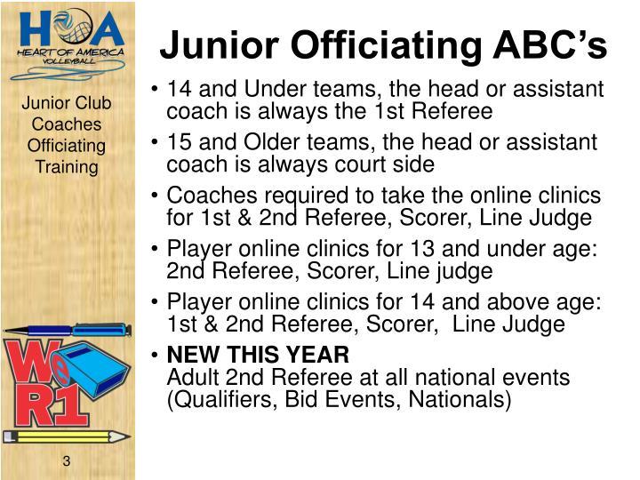 Junior officiating abc s