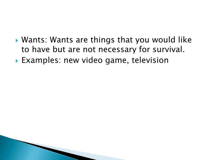 Wants: Wants are things that you would like to have but are not necessary for survival.
