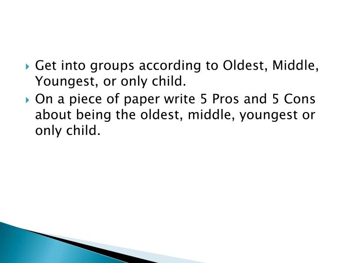 Get into groups according to Oldest, Middle, Youngest, or only child.