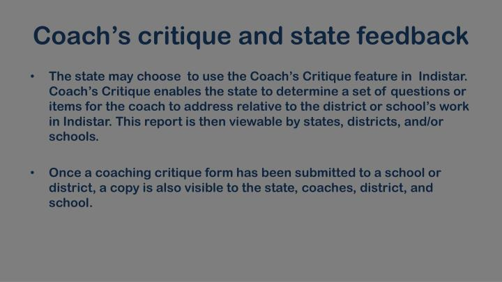 Coach's critique and state
