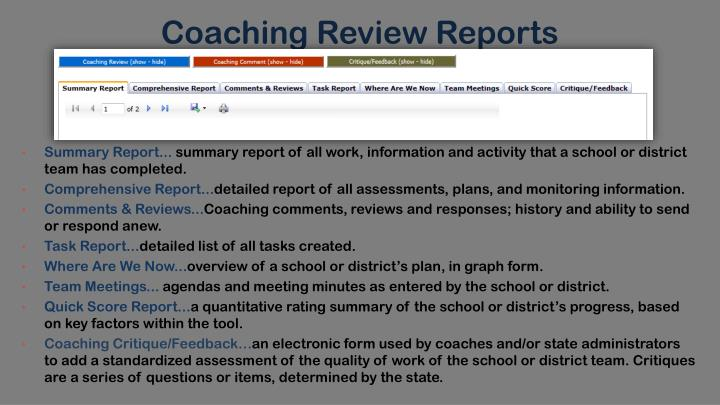 Coaching Review Reports