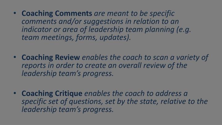 Coaching Comments