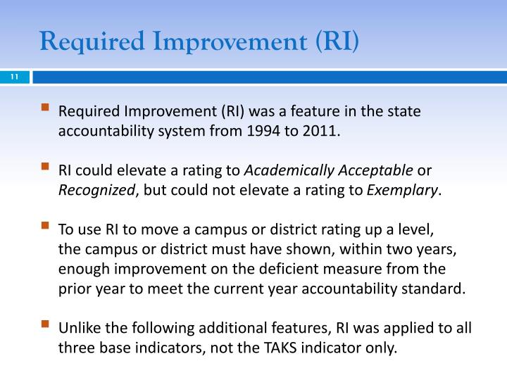 Required Improvement (RI)