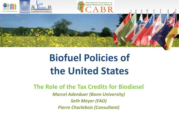 Biofuel policies of the united states