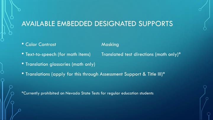 Available embedded Designated Supports